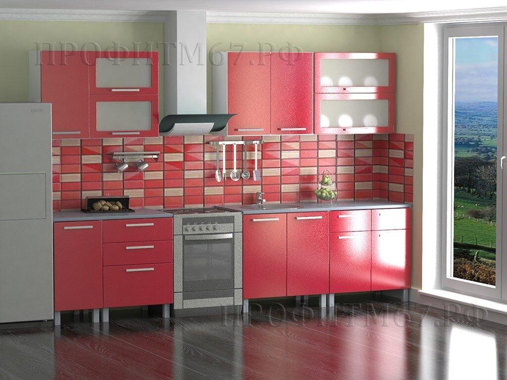 Кухня-красный-металлик