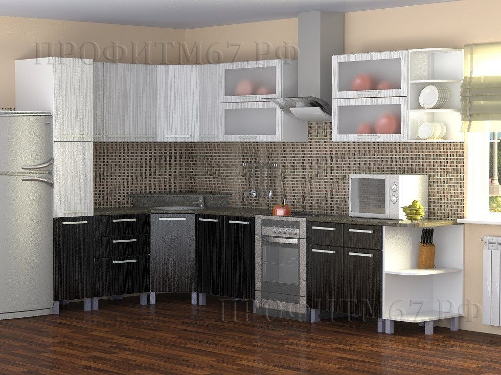 """Кухонные модули """"Дождь белый - Дождь черный"""""""