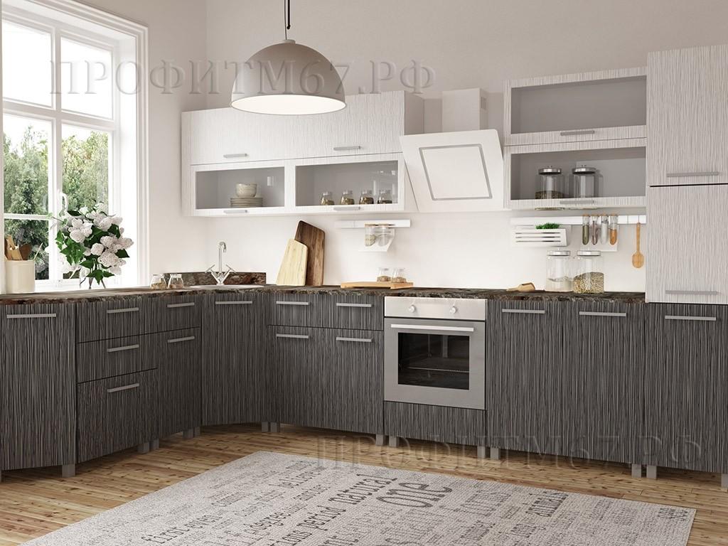"""Кухня МДФ """"Белое - черное серебро"""""""