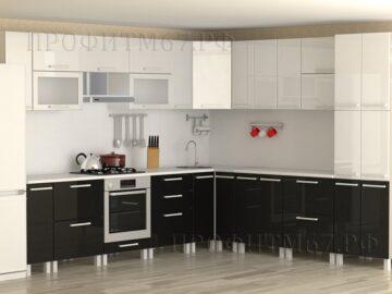 Кухня черный- белый металлик