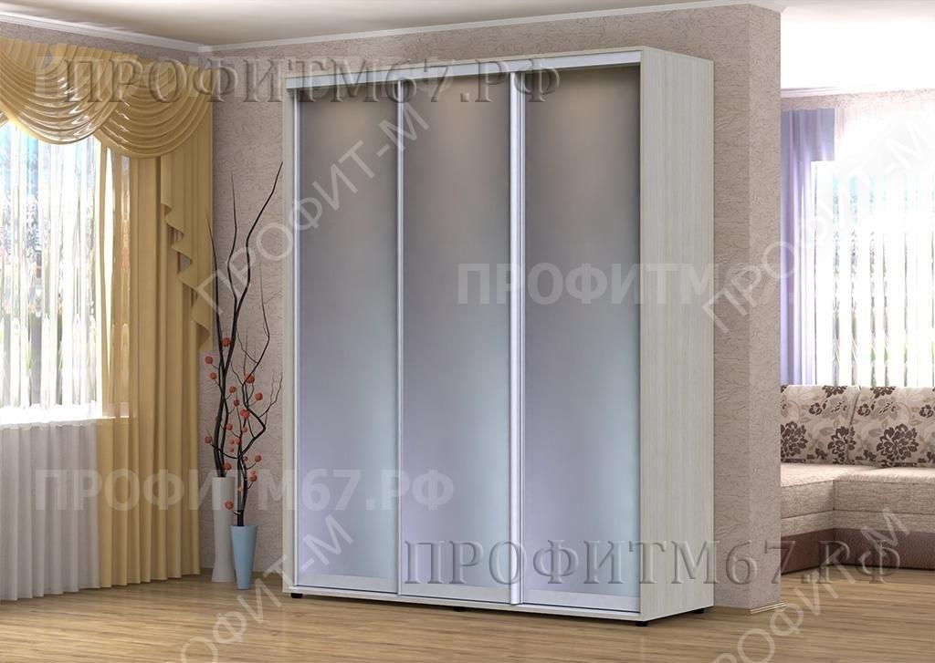 """Шкаф-купе """"Версаль"""" 3 зеркала алюминий"""