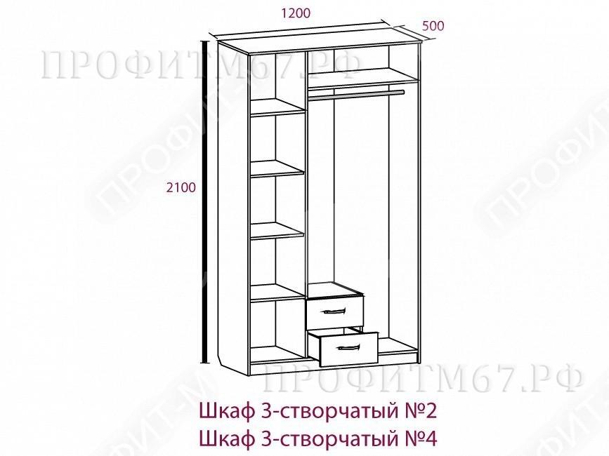 Шкаф 3-створчатый №2 МДФ