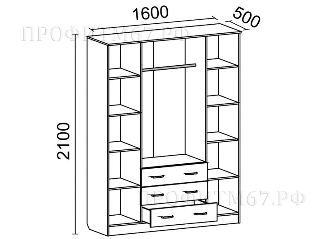 Шкаф 4-створчатый №1 ЛДСП схема