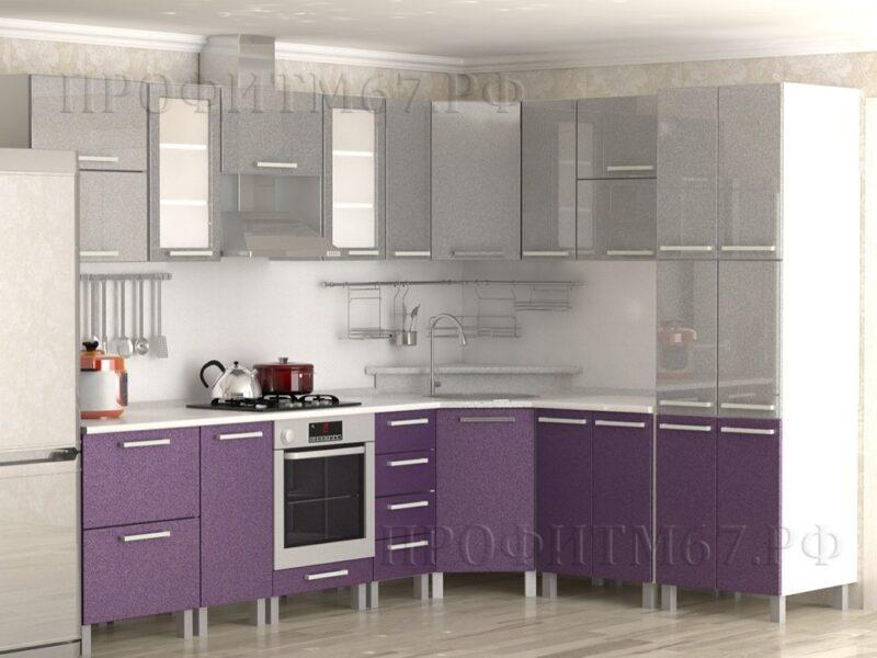 Кухня МДФ Серый металлик-фиолетовый металлик