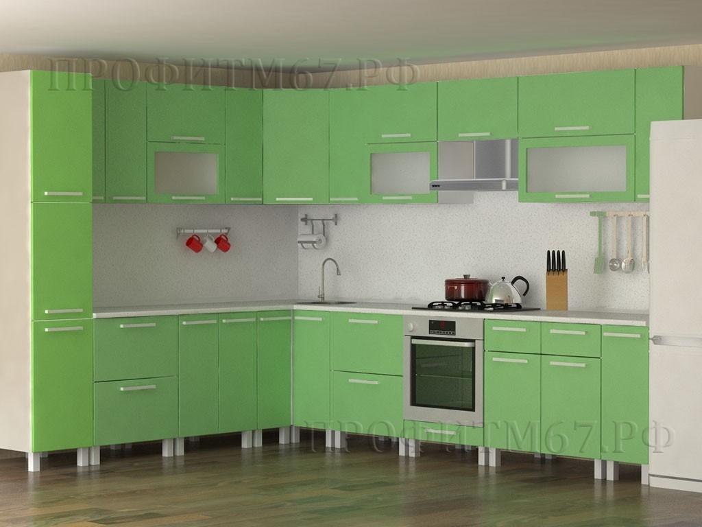 Кухня МДФ «Салатовый металлик»