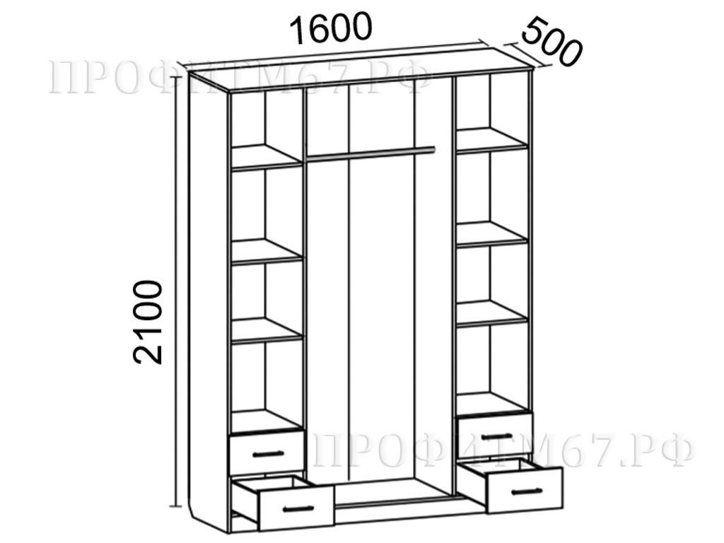 Шкаф 4-створчатый №2 МДФ схема