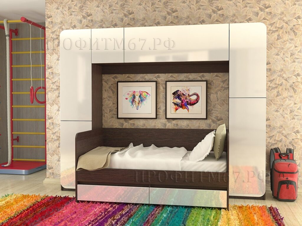 Уголок глянец с кроватью