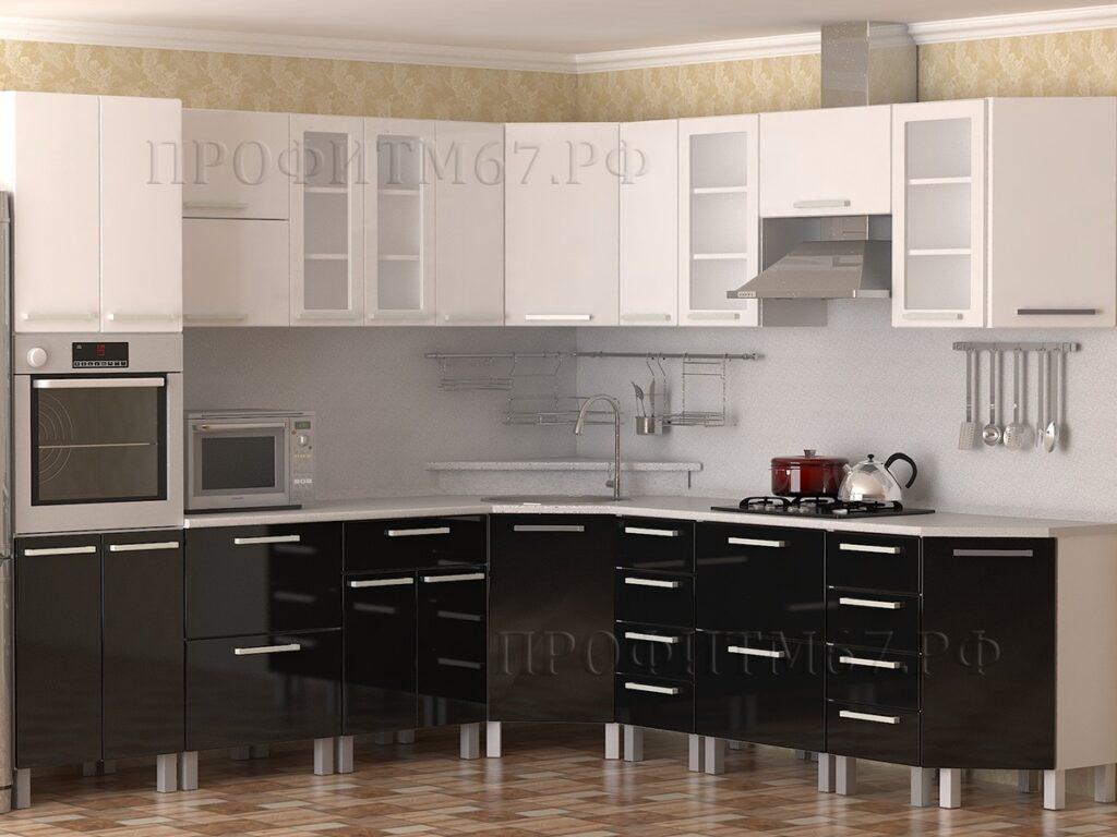 """Кухонные модули """"Белый глянец - Черный глянец"""""""