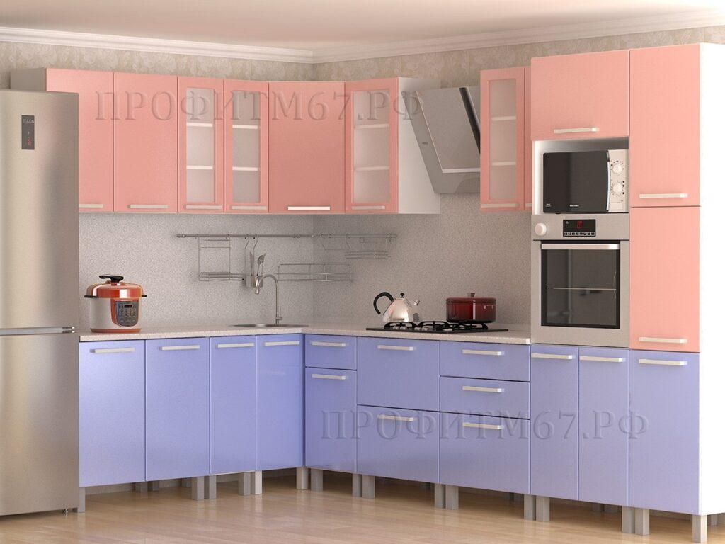 """Кухонные модули """"Розовый глянец - Сизый глянец"""""""