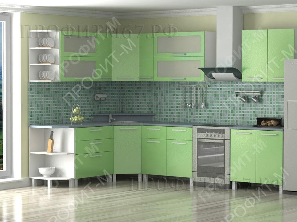 "Кухня МДФ ""Зеленый металлик"""